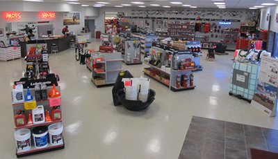 Parts department and store at Lake County International in Madison, South Dakota